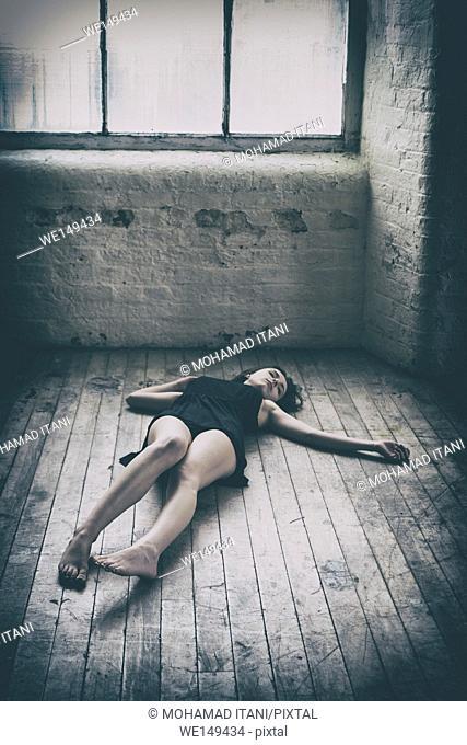 Woman's boy on the floor