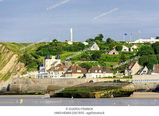 France, Calvados, Arromanches les Bains, historic place of the Normandy landings, remains of the artificial harbour Mulberry B or Winston harbour on the beach