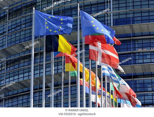 FRA , FRANCE : Flags in front of EU parliament in Strasbourg , 16.08.2016 - Strasbourg, Alsatia, France, 16/08/2016