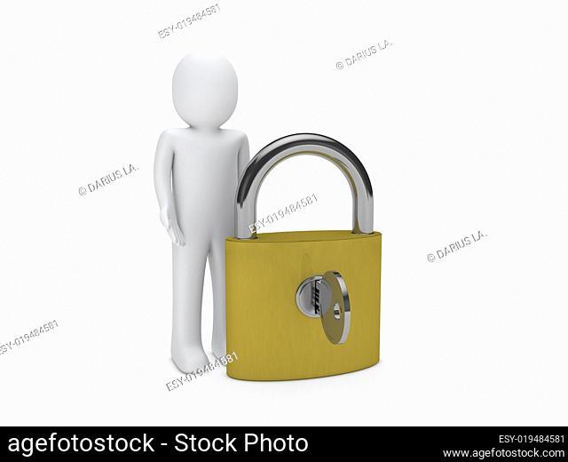3d man padlock key