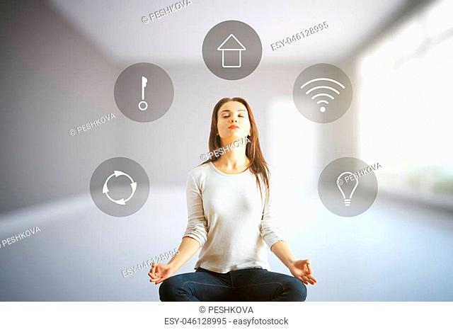 Meditating european woman in interior with futuristic interface of smart home automation assistant on a virtual screen. 3D Rendering