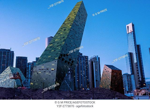 sculptural features under construction near Southbank roadway, Melbourne