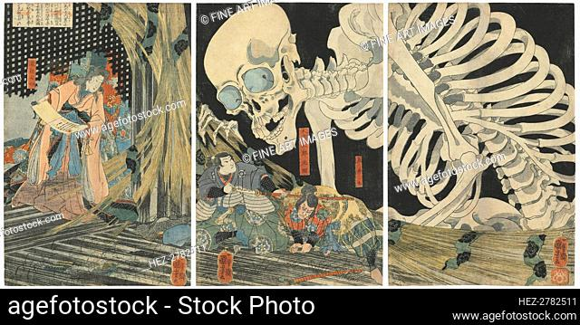 Oyataro Mitsukuni Defying the Skeleton Spectre Conjured up by Princess Takiyasha, 1844-1845. Creator: Kuniyoshi, Utagawa (1797-1861)