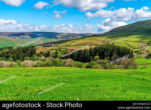 Yorkshire Dales landscape in the Swaledale near Gunnerside, North Yorkshire, England, UK