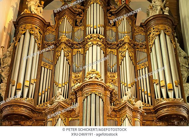 church organ of the Oude Kerk / Old church in the dutch capital Amsterdam, North Holland, Netherlands