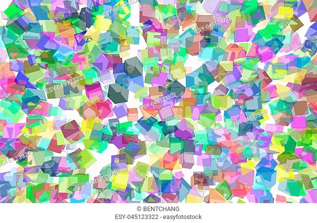 Random colored abstract overlapping cubes or boxes, digital generative art for design texture & background