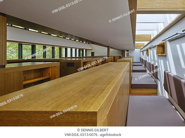 View through first floor reading room. Study Centre at St John's College Library, Oxford, United Kingdom. Architect: Wright & Wright Architects LLP, 2019