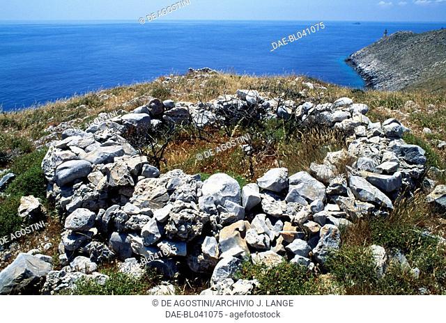 Ruins of ancient stone houses, Cape Matapan or Cape Tainaron, Mani Peninsula, Greece