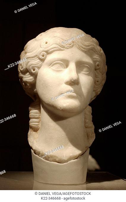 Roman bust from Segóbriga archeological site. Cuenca province, Spain