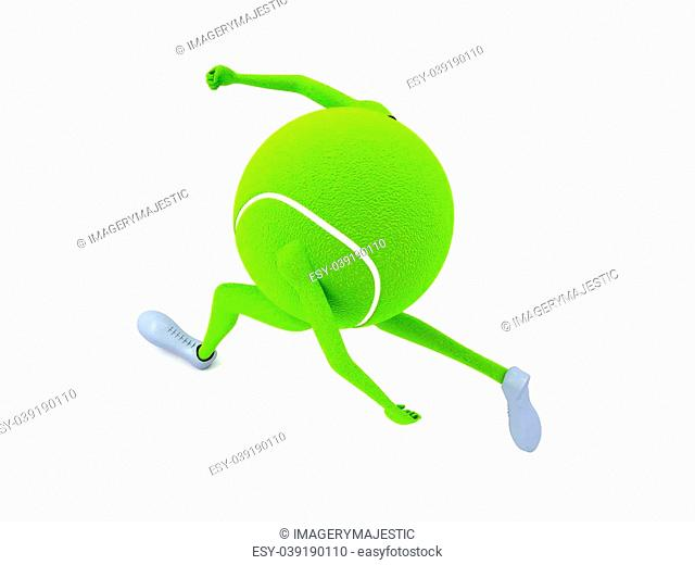 isolated three dimensional tennis ball with hands and legs