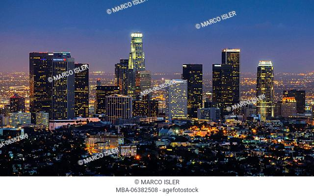 Downtown Los Angeles at night, Los Angeles, California, USA