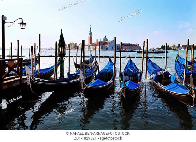The Island of San Giorgio Maggiore with Venetian Gondolas in the foreground