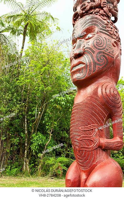 Maori totem. Whanganui National Park. New Zealand