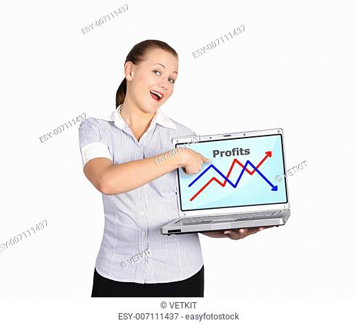 girl holding notebook with graph on a white background