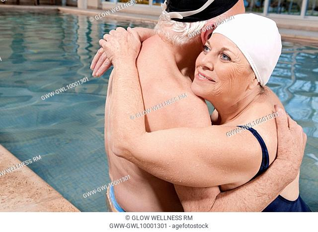 Couple embracing in a swimming pool