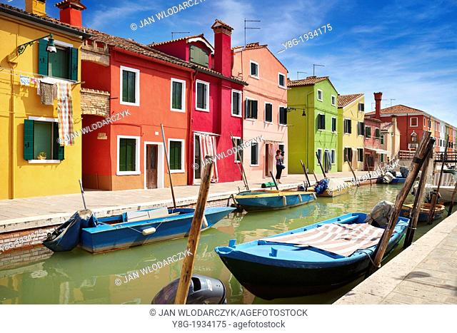 Burano - characteristic colored houses over canal in village of Burano, Venice Lagoon district, (Burano Lagoon Island), Italy