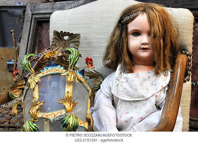 Paris, France, doll in an antique shop at Marché Vernaison