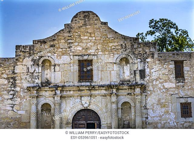 Alamo Mission Facade San Antonio Texas. Site 1836 battle between Texas patriots, such as Travis, Bowie, and Crockett, killed by Mexican army and Santa Anna