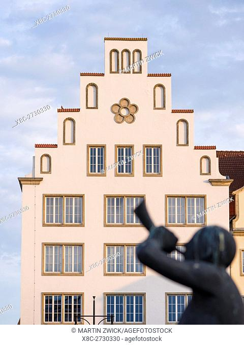 Traditional houses buildt in the middle ages at the Neuer Markt (new market). The hanseatic city of Rostock at the coast of the german baltic sea