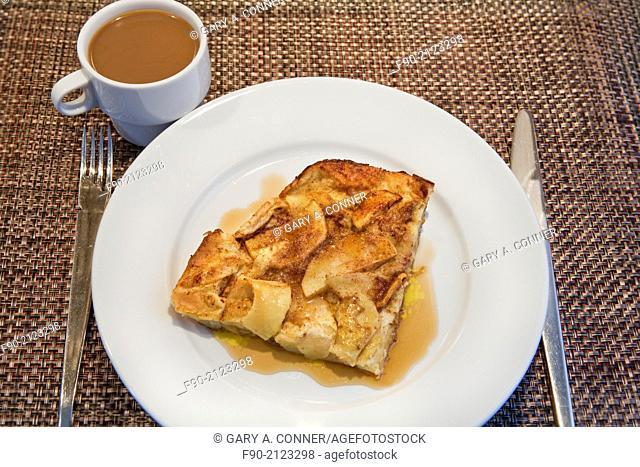 German apple pancake and coffee breakfast
