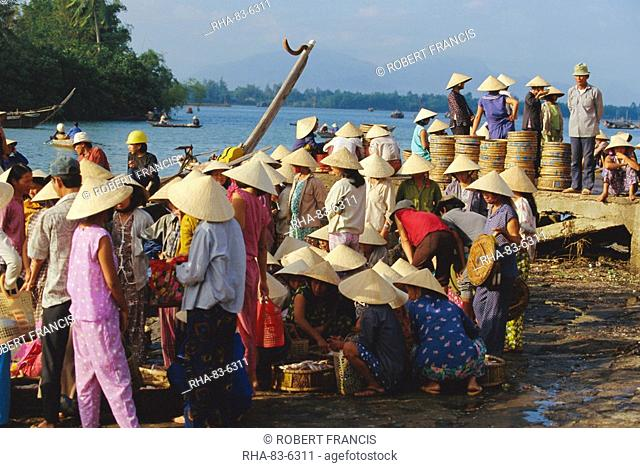 Women in conical hats at the fish market by the Thu Bon River in Hoi An, south of Danang, Vietnam, Indochina, Asia