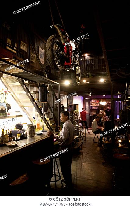 Cambodia, Phnom Penh, Hangar 44, trendy bar in Bassac Lane, modern nightlife district of Phnom Penh