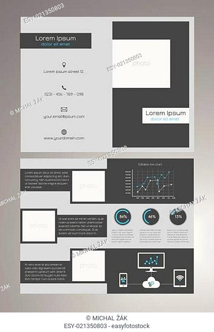Business bifold brochure template - modern, dark grey and blue design with editable line chart, round percentage charts and universal icons concerning...