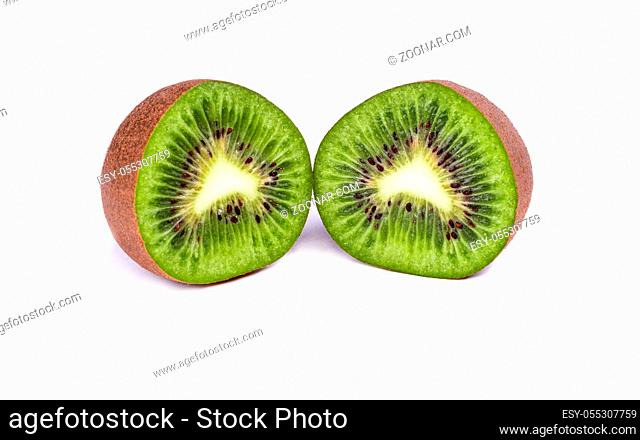 two half ripe kiwi on white background