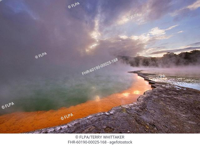 Hotspring with arsenic and antimony sulfides deposits, Champagne pool, Waiotapu, Taupo Volcanic Zone, North Island, New Zealand