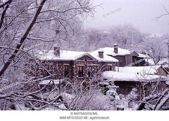 Snowcovered houses, Nymfaio, Macedonia West, Greece