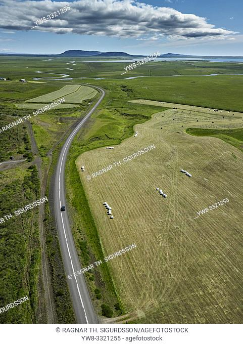 Aerial farmland, Laugardalur, Iceland