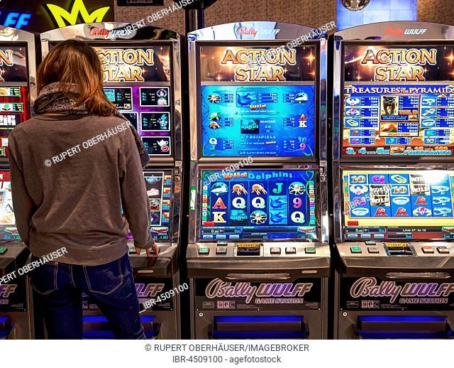 Slot machines, Düsseldorf, North Rhine-Westphalia, Germany