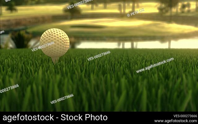 Golf ball on a golf course in early evening. 4K UHD animated 3D video