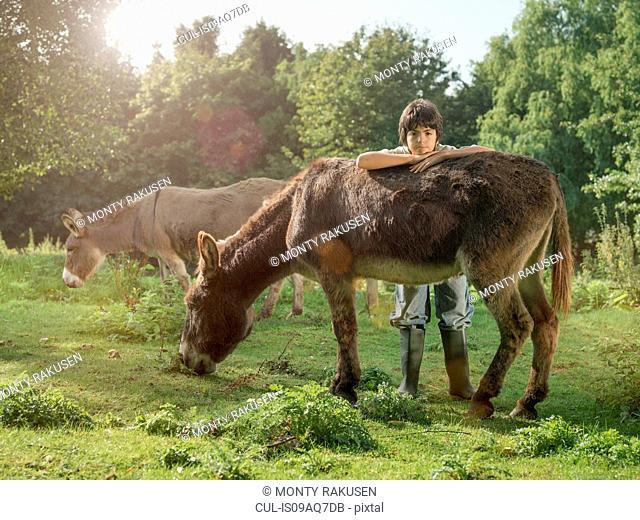 Boy with donkey in field, portrait
