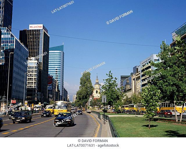 Santiago is the capital of Chile. The Avenida LibertadorBernardo O'Higgins was built at the end of the 19th century