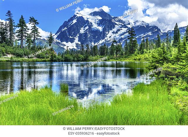 Picture Lake Evergreens Mount Shuksan Mount Baker Highway Snow Mountain Trees Washington Pacific Northwest USA.