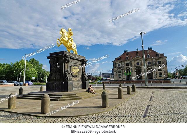 Statue Golder Reiter in the suburb Neustadt. Dresden , Germany