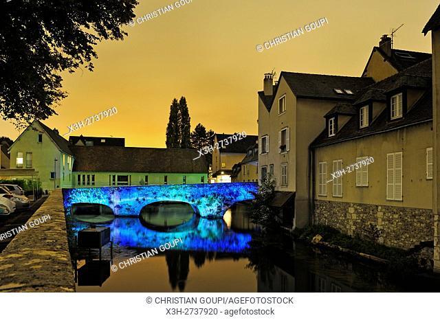 illumination of the Bouju bridge on the Eure River, Chartres, Eure-et-Loir department, Centre -Val de Loire region, France, Europe
