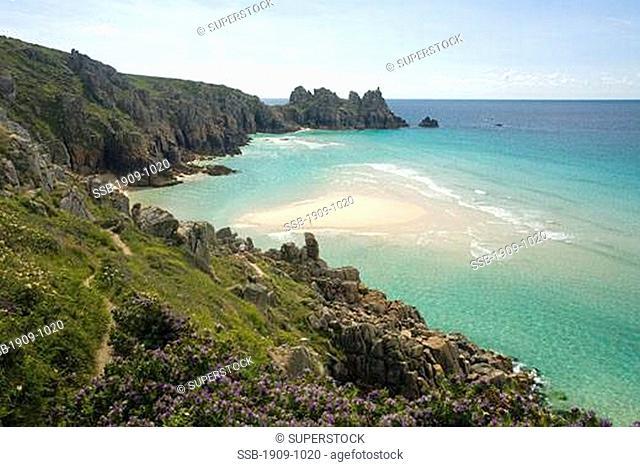 Pednvounder Beach near Porthcurno Cornwall England GB Great Britain UK United Kingdom British Isles Europe EU