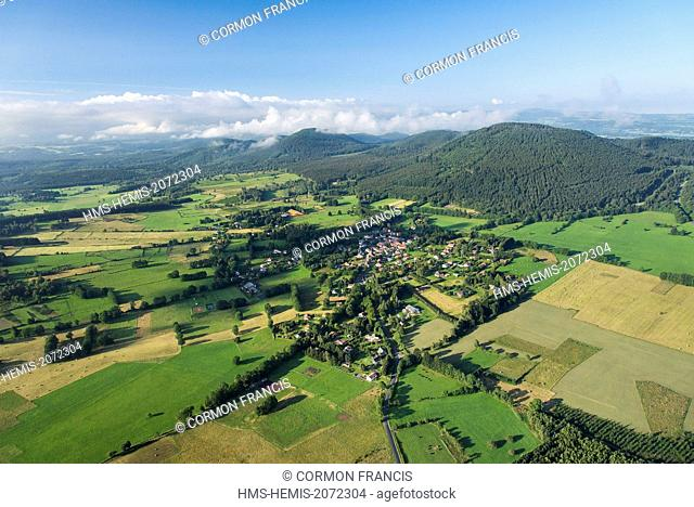 France, Puy de Dome, Regional Natural Park of the Volcanoes of Auvergne, Laschamp, south of Chaine des Puys (aerial view)