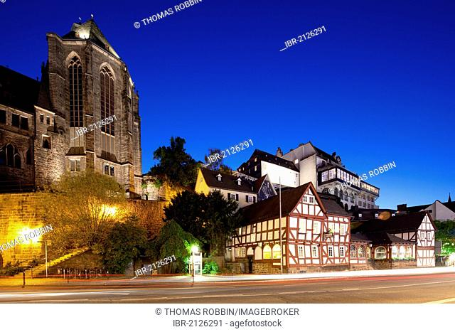 Old University, University Church, Old Brewery, half-timbered house, Marburg, Hesse, Germany, Europe, PublicGround