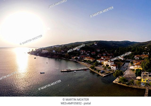 Greece, Aegean Sea, Pagasetic Gulf, Peninsula Pelion, Sound of Trikeri, Aerial view of Chorto in the evening
