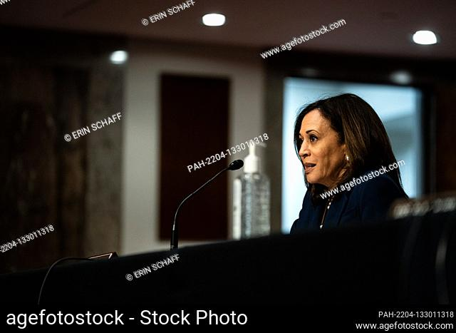 United States Senator Kamala Harris (Democrat of California) attends a US Senate Judiciary Committee business meeting to consider authorization for subpoenas...