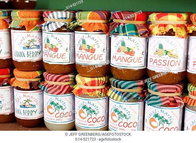 Duty free shopping, bottles, mango jam, coconut, guava. Philipsburg. Sint Maarten