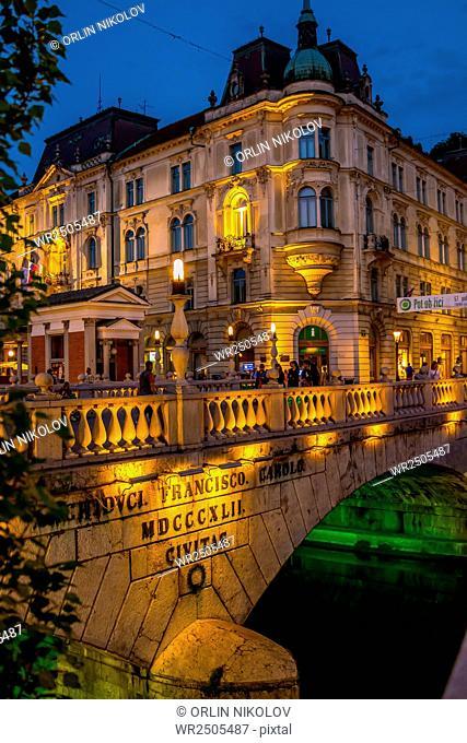 Night view of river Ljubljanica, Ljubljana, Slovenia