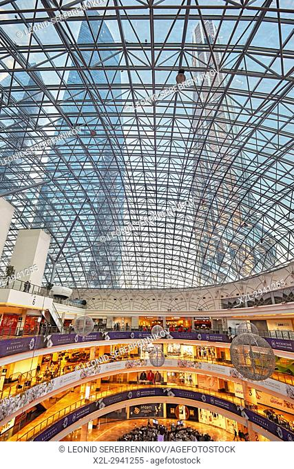 Interior of the Afimall City, upscale shopping mall at the Moscow International Business Centre (MIBC). Moscow, Russia