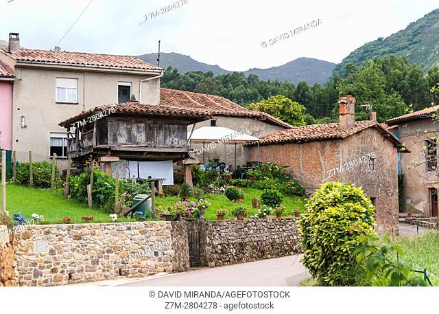 Hórreo, typical granary, Asturias, Spain. Historical Heritage Site