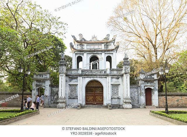 Main entrance to the temple of literature, Quoc Tu Giam, Hanoi, Vietnam