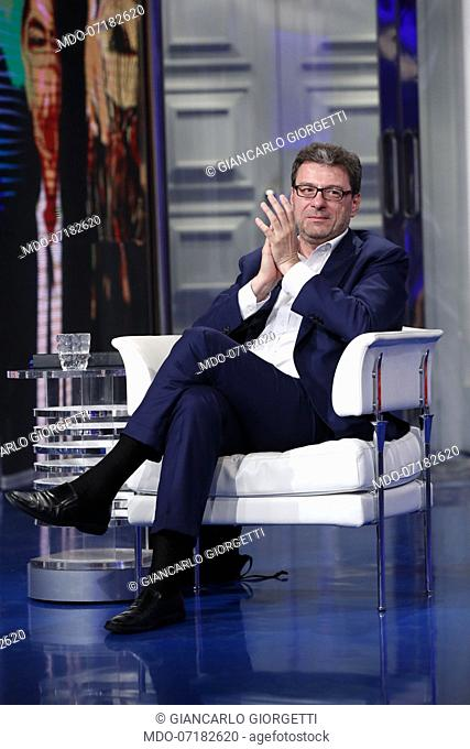 The Secretary of the Council of Ministers Giancarlo Giorgetti during the TV show Porta a Porta. Rome (Italy), June 25th, 2019.