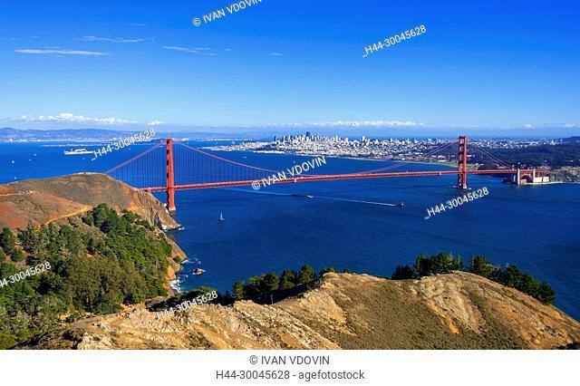 Cityscape of San Francisco and Golden Gate Bridge, California, USA